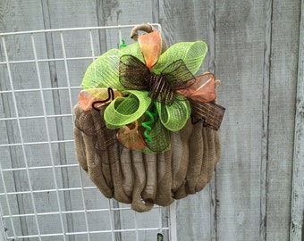 Burlap & Deco Mesh Pumpkin Wreath