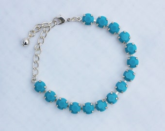 Turquoise Blue 8mm Swarovski Crystal Bracelet
