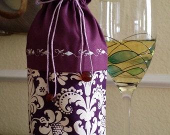 Deluxe Wine Bag-Fleur-de-lis Collection (Burgundy)