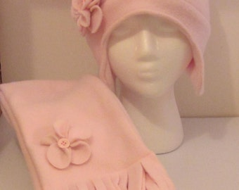 Fleece Pink Hat with Detachable Flower Pin & Scarf