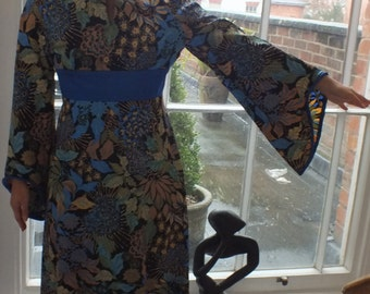 SALE! Vintage Oriental Maxi Dress/ Dolly Rockers/Designed by Sambo/Made In England/1960-70s