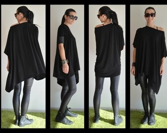 Oversize Top/Loose maxi tunic with leather sleeves/Long Blouse/Asymmetric Tunic Top/Maxi tunic top / Plus size tunic top