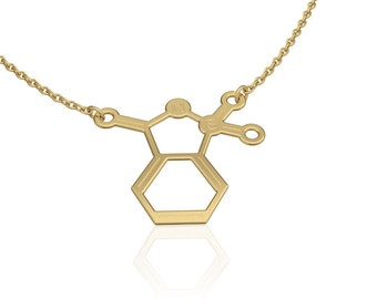 Saccharin molecule necklace  science jewelry chemistry necklace -sterling silver necklace womens jewelry