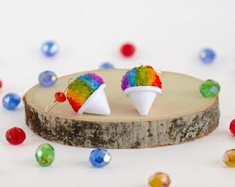 Handmade Rainbow Snow Cone Earrings