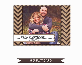Rustic Christmas Card Template - 5x7 Photo Card - Photoshop Template - INSTANT DOWNLOAD or Printable - CC14