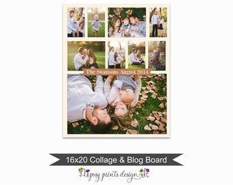 Blog Board & Collage Template 16x20 - Social Media Collage Template - Digital Storyboard - Instant Download - BCB03
