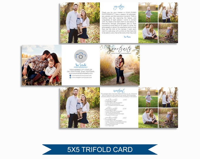 Trifold Brochure Template - Pricing Guide -  5x5 Photoshop Template for Photographers- Accordion Trifold Card - M002