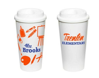 Art Teacher Gift - Coffee Cup Insulated Plastic Tumbler - Art Teacher Appreciation