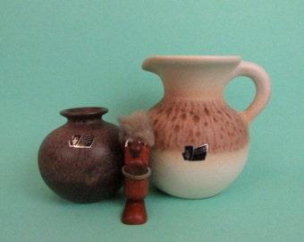 Keramik Vase Set von Silberdistel / Vintage Silberdistel vase  set West German pottery brown 70s