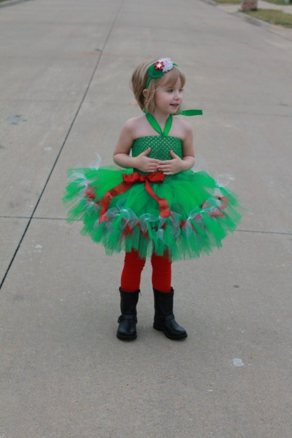 Christmas tree inspired tutu dress christmas tutu dress baby toddler
