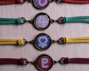 Bracelets cabochon symbols Sailor Moon with colored cord