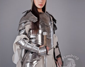 "Larp Medieval Fantasy Costume   ""Brave Angel""  steel female armor: arm bracers, pauldrons, cuirass, corset, greaves"