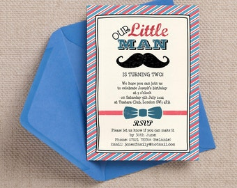 Red and Blue Little Man Kids Party Invitation Cards