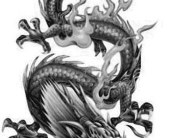 Chinese Dragon Temporary Fake Tattoo Bold Body Art Transfer Waterpoof Fancy Dress