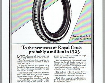 Vintage, Original, 1923 - United States Royal Cords Tires Advertisement