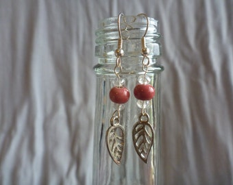 Beaded leaf dangle earrings