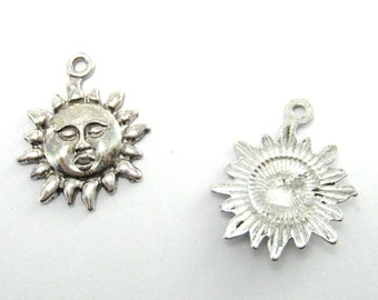Sun Charm 1, 2, or 5 Pieces  Silver Sun Charm Sun Face  Charm , Jewelry Supplies,Small Lot Antiqued Silver Charm
