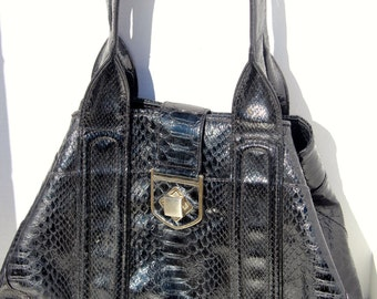 Vintage Worthington Black Faux Snake Skin Handbag, Hobo Style Large Purse