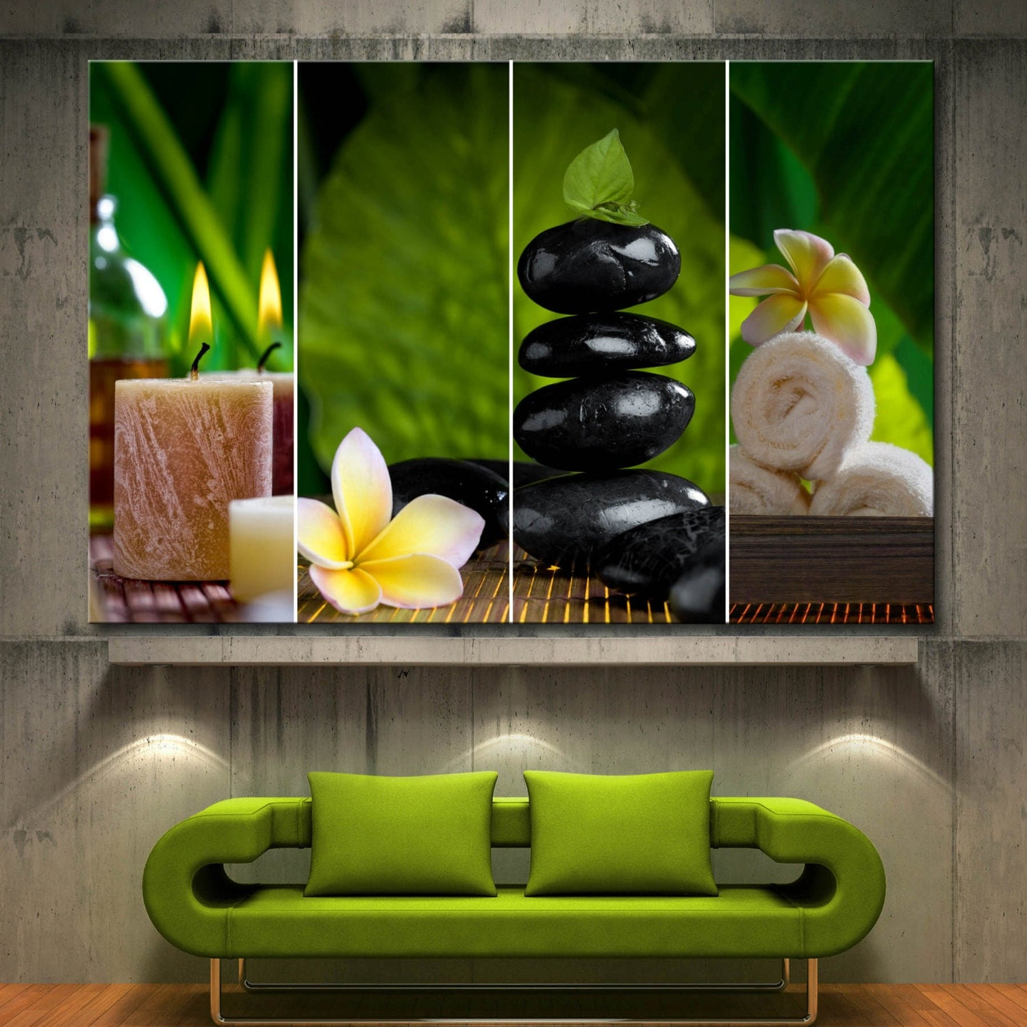 1 piece flowers candle zen spa collage decor wall art canvas for Spa wall decor