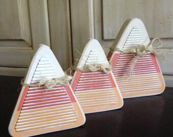 Candy Corn Wood Blocks, Set of 3
