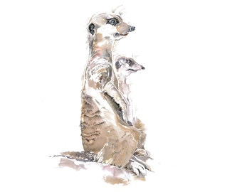 Meerkats, Watercolour Animal Print, Nature Print, Wildlife Art, Wall Art, Brown and Grey, Children's Art