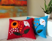 Pillow cover red, hand embroidered, Mexican Textiles home decor handmade, handwoven, colorful sunflower and arum lily