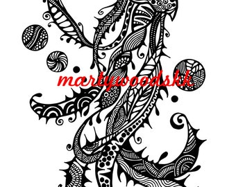 Items Similar To Zentangle Happy NEW YEAR Holiday Greeting Download Of Zendoodle Inspired Pen