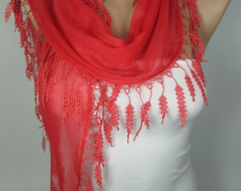 Soft Cotton Scarf Coral Scarf Shawl Lace Edge Scarf Spring Scarf Bridesmaids Gift Women Fashion Accessories Gift Ideas For Her