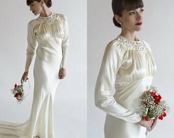 1930s Wedding Dress / Vintage Liquid Satin Long Dress