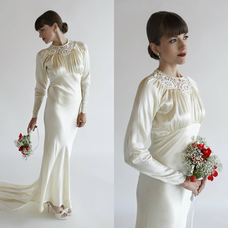 RESERVED 1930s Wedding Dress Vintage Liquid Satin Long Dress