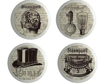 Steampunk Art Ceramic Knobs, Cabinet  Knobs or Drawer Pulls  Set of 4