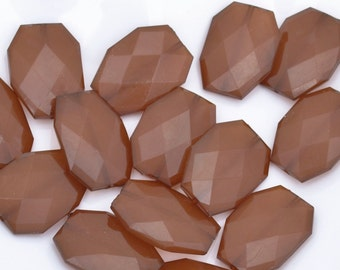 COFFEE Brown Wholesale Acrylic Large Faceted Beads 34mm x 24mm - Flat Slab Nuggets Colorful Drilled Faux Stones Beads - Acrylic Polygon Bead