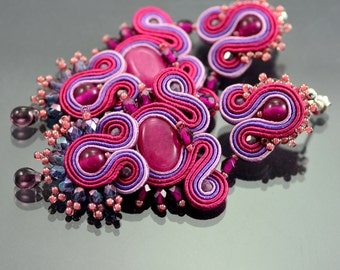 Long Pink Dangle Earrings, Long Dangle Soutache Earrings, Pink Violet Long Earrings, Dangle Earrings, Soutache Braid, Soutache Earrings