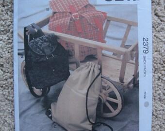 UNCUT Back Packs - Kwik Sew Sewing Pattern 2379