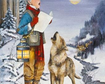 Christmas Card, Holiday Card, Greeted Christmas Card, Wolf, Harmony