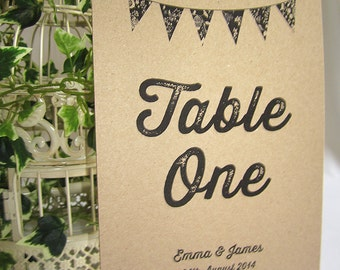 Vintage bunting Wedding Table Name Cards / table number cards / rustic / shabby chic wedding / wedding breakfast / village fete wedding