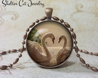 """Swans in Love Necklace - 1-1/4"""" Circle Pendant or Key Ring - Handmade Wearable Photo Art Jewelry - Nature Art - Swan - Gift"""