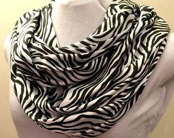 Silky Soft Zebra Infinity Scarf