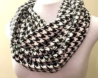 One left in black! Flannel Houndstooth Print Infinity Scarf in three colors!