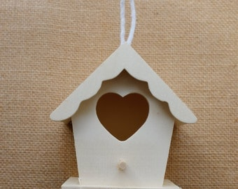 wooden miniature bird house ornament - fairy house - natural wood DIY paint yourself - holiday ornament - decoration