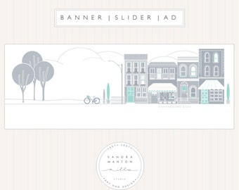 Facebook Header with a grey and turquoise building illustration
