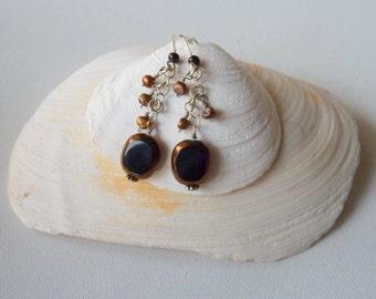 SALE, Sterling Silver Black Dangle Earrings Vintage Fire Polished German Glass Retro Dangle Pierced Earrings,Hand Made Dangle,Earrings 70's