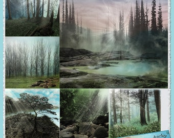 Sunlight Woods Digital Background Papers for Scrapbooking or Crafts Instant Download