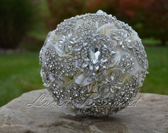 Full Price - Bridal brooch bouquet Cream silk flower brooch bouquet Wedding Brooch Bouquet Bridal Brooch Bouquet Brooch Bouquet
