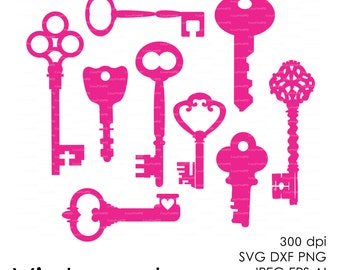 Vintage keys Cut File (eps, svg, dxf, ai, jpg, bmp, png) Silhouettes Vector Digital cutting file for silhouette, Wall Art Print EasyPrintPD