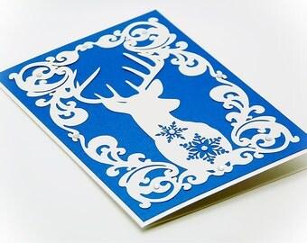 Christmas Frame Deer card Reindeer Хмаs Noel (Studio V.3, svg, dxf, , eps, png) PaperCut file Silhouette Cameo EasyCutPrintPD