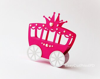 Princess Carriage box template (Studio V.3, DXF, SVG) baby girl party Cutting digital Cinderella Silhouette Cameo Cricut EasyCutPrintPD