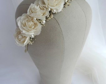 Bridal Rose & Pearl Headpiece, Vintage Style Floral Headband, Bridal Flower crown