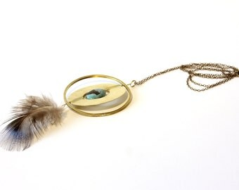 Unique piece, collar necklace in brass, turquoise and Peacock feather