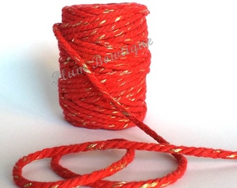 Red & Gold  Sparkle 5mm Chunky Cotton Bakers Twine by James Lever x 1mtr